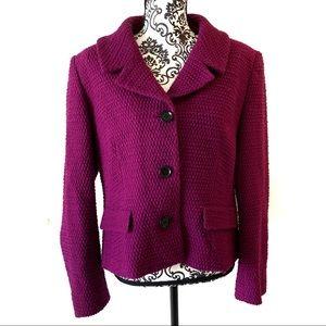 Lafayette 148 Purple Textured Wool Jacket Size 14